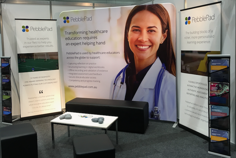 The image shows the PebblePad eportfolio exhibition stand at ANZAHPE 2017