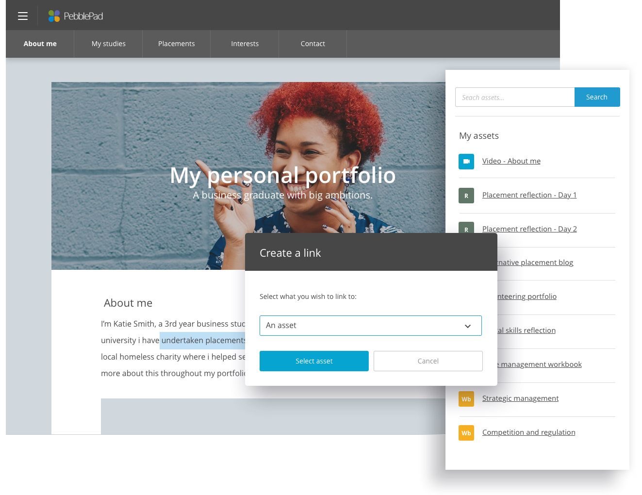 The image shows an example eportfolio