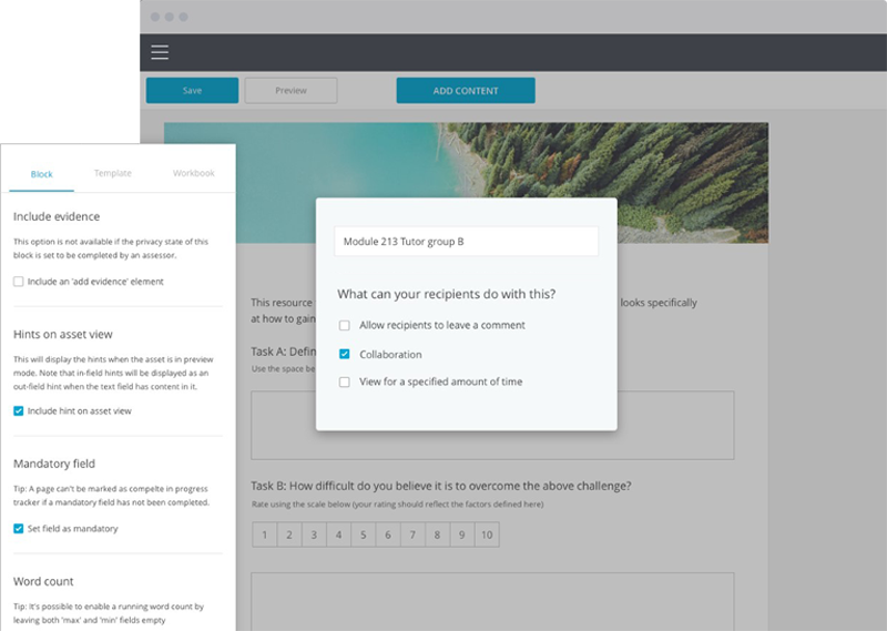 Showing collaborate permissions in a PebblePad template