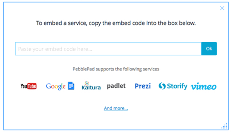PebblePad's supported embed services