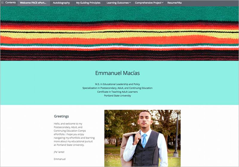 PebblePad eportfolio example