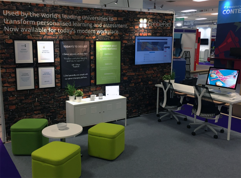 The image shows the PebblePad exhibition stand at Learning Technologies 2017