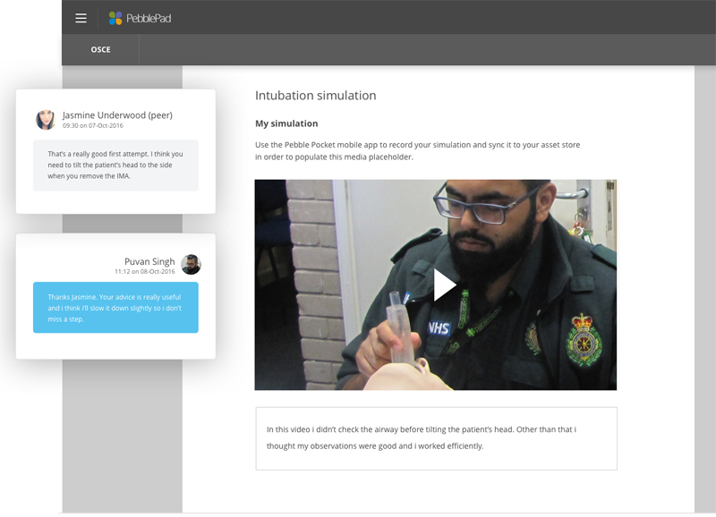 The image shows an example of a PebblePad workbook used to support peer review in paramedic training
