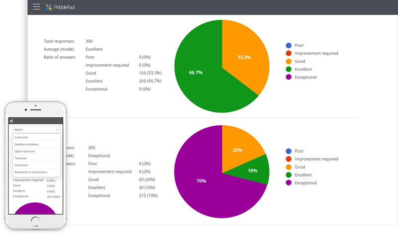 The image shows reporting data in PebblePad