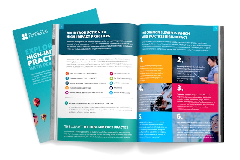 Image shows a snapshot of the PebblePad High-impact practice publication