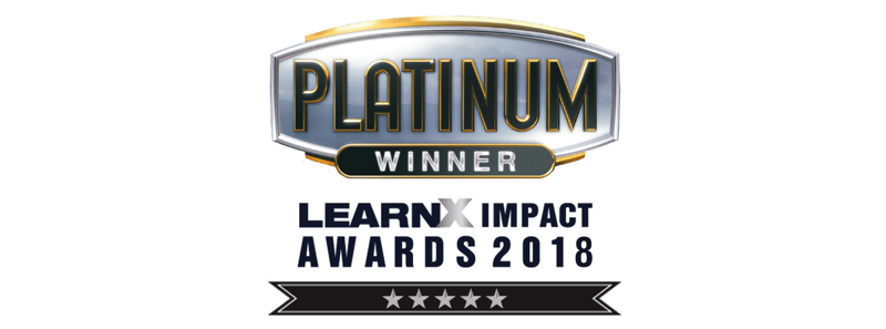 Image shows the Platinum Award Winners - LearnX Impact Awards Logo