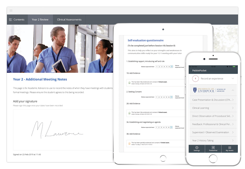 Image shows PebblePad being used to support Medical Education