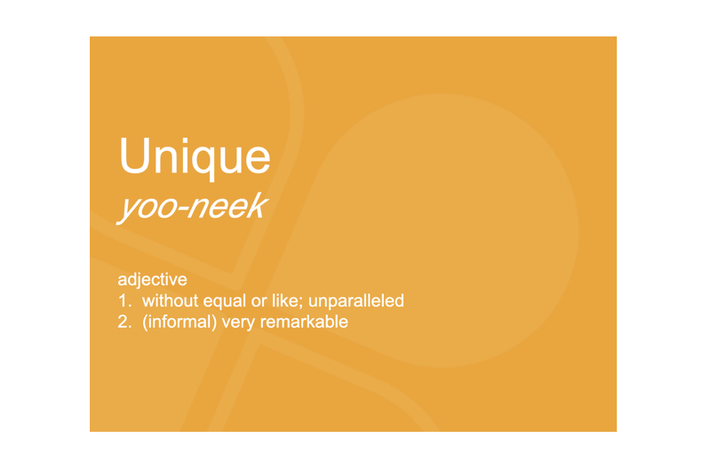 Image shows a presentation slide with the dictionary definition of the word unique