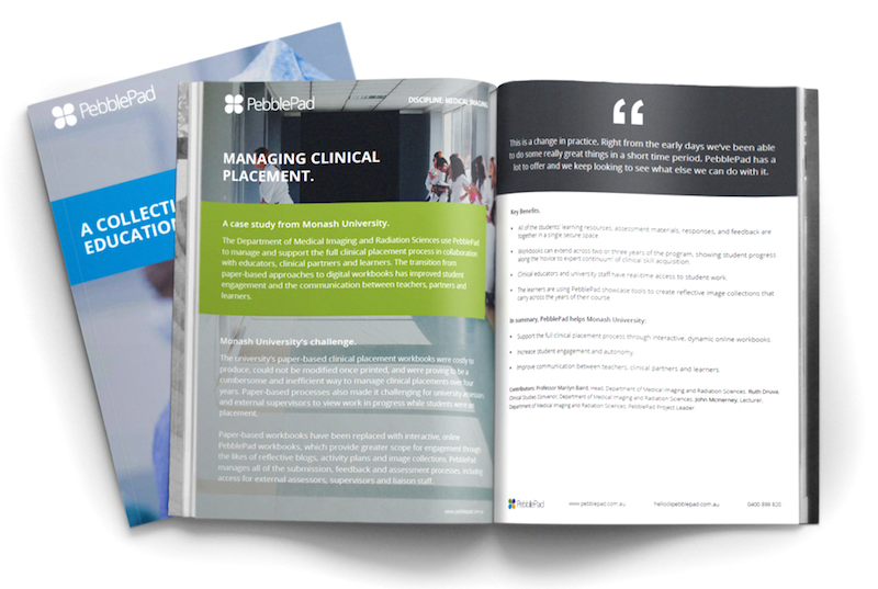 Image shows a PebblePad Case Studies Brochure Pack