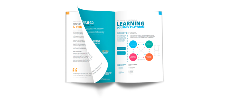 Image shows a snapshot of PebblePad's Learning Journey Platform Publication