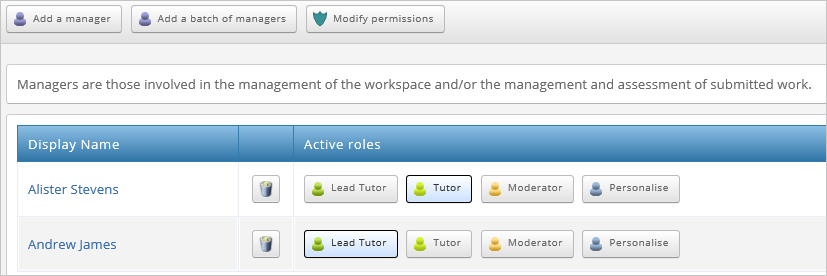 Image shows roles in Canvas being mapped over to PebblePad's assessment space