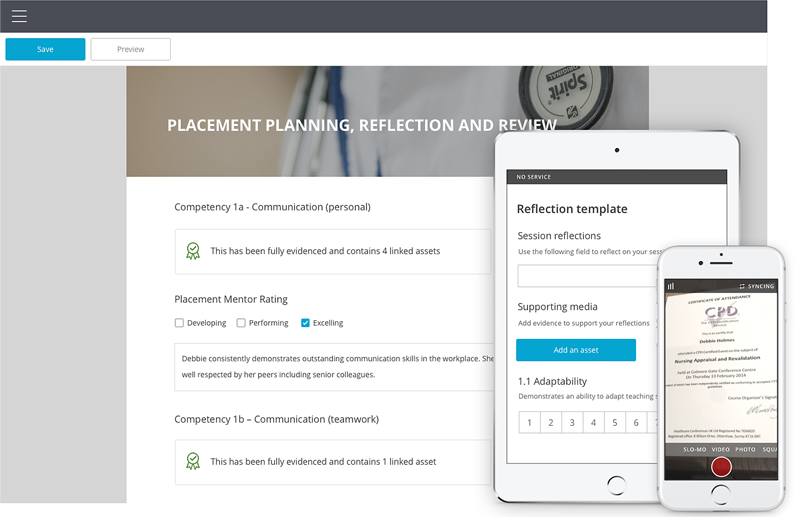 The image shows the PebblePad eportfolio interface in a health education context